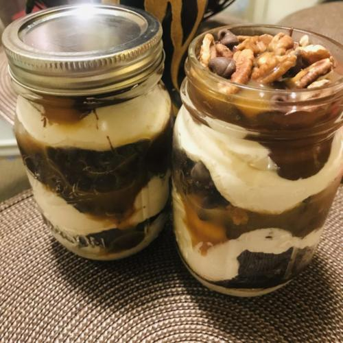 Turtle Cheesecake Dessert Jars